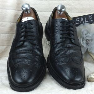 COLE HAAN BLACK PEBBLED LEATHER WINGTIP OXFORDS